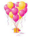 Balloons heart with gift Royalty Free Stock Photography