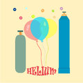 Balloons with helium metallic cylinders a picture symbolizing the inflation of the liquefied gas Royalty Free Stock Photography
