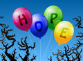 Balloons hope four which are labeled with the word are threatened by thorns Royalty Free Stock Photos