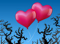 Balloons love danger two heart shaped pink are threatened by thorns Royalty Free Stock Photos