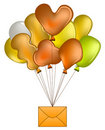 Balloons with mail Royalty Free Stock Photo