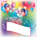 Balloons party invitation card with falling board and flown away Royalty Free Stock Photos