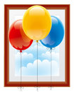 Balloons with a picture frame Royalty Free Stock Photography