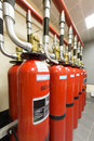 Balloons of powerful industrial fire extinguishing system red Stock Image