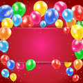 Balloons on red background flying colored holiday with banner illustration Royalty Free Stock Photos