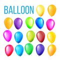 Balloons Set Vector. Birthday, Holiday Event Elements Decoration. Flying Object. Color Round Present. Realistic