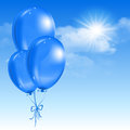 Balloons in the sky soaring with clouds vector illustration Royalty Free Stock Photos