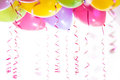 Balloons with streamers for birthday party celebration Royalty Free Stock Photo