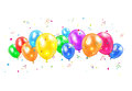 Balloons and tinsel colored flying isolated on white background illustration Royalty Free Stock Image