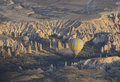 Balloons in turkey on a morning cappadocia take flight to take the beauty of the rock formations and expansive views Stock Photography