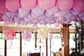 Balloons under the ceiling on wedding party Royalty Free Stock Photo