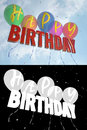 Balloons with the words Happy Birthday on the background of sky and clouds
