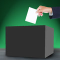 Ballot and box hand with Stock Photo