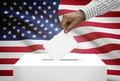 Ballot box with national flag on background - United States of America Royalty Free Stock Photo