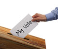 Ballot box voting with person casting my vote on a slip Royalty Free Stock Photos