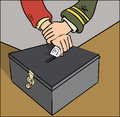Ballot rigging uniformed official stopping someone voting Stock Images