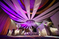 Ballroom beautiful purple satin decorated banquet hall Stock Images