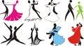 Ballroom dance - logos & silhouettes Royalty Free Stock Photos