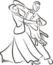 Ballroom dancing dancing couple elegant dance black and white outlines Royalty Free Stock Photo