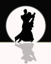 Ballroom dancing in the moonlight black and white silhouette of couple full during event Stock Photo