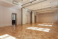 Ballroom spacious bright with a wooden floor Stock Photo