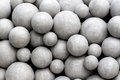 Balls as artwork before the new music theater in linz austria Royalty Free Stock Photo