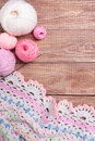 Balls of colored yarn on wooden boards Stock Images