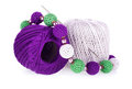 Balls of cotton yarn with knitted necklace Stock Image