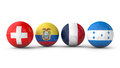 Balls with flags of switzerland ecuador france honduras Stock Photo