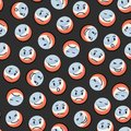 Balls pattern vector seamless with smiley face emotions Royalty Free Stock Photo