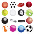 Balls played various sports displayed together white background Royalty Free Stock Photography