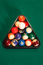 Balls in a pool triangle. Royalty Free Stock Photo