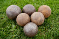 Balls on the stadium shot put Royalty Free Stock Photos