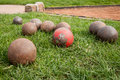 Balls to shot put on the grass Stock Photos