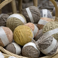 Balls of wool in basket Royalty Free Stock Photography