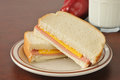 Baloney and cheese sandwich a bologna with an apple Stock Image