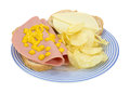 Baloney and cheese sandwich with chips Royalty Free Stock Image