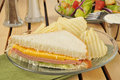 Baloney sandwich with chips a bologna and cheese american cheese and a salad Royalty Free Stock Photography