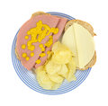 Baloney sandwich with chips and cheese Royalty Free Stock Photography