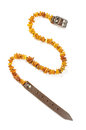 Baltic amber dog and cat necklace isolated on the white background collar for dogs or cats Stock Photography