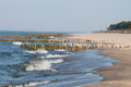 Baltic coast with wooden breakwaters Stock Image