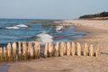 Baltic coast with wooden breakwaters Stock Photo