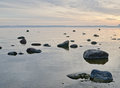 Baltic sea early in the morning stony coast of Royalty Free Stock Image
