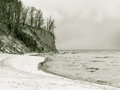 Baltic sea gdynia cliff in orlowo poland winter scenery bay beautiful landscape Stock Photos