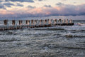 Baltic sea groyne on shore of the in winter Royalty Free Stock Image