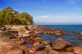 Baltic sea stones and sand beach paldiski in estonia Royalty Free Stock Photography