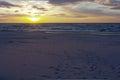 Baltic Sea At Sunset Time, Poland, Leba.