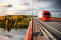 Baltic trucking, bridge, sunset Royalty Free Stock Image