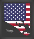 Baltimore Maryland map with American national flag illustration