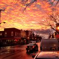 Baltimore sunset in hampden clouds sky Royalty Free Stock Images